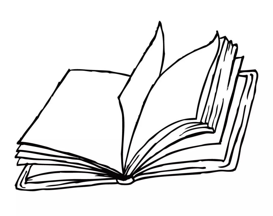 书本铅笔画简笔画,手绘素描卡通黑线条