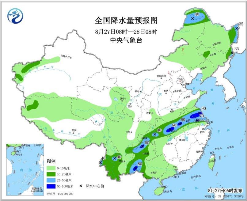 今日云南贵州湖北安徽江苏部分地区有大到暴雨