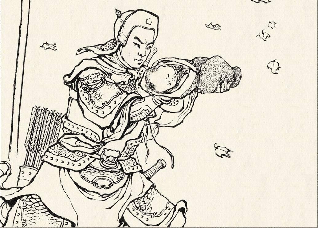 (赵子龙救阿斗图)   这里提一下赵云,赵云在刘备集团是一个比较特殊的存在;赵云的工作有点像刘备的禁卫军军官,保护刘阿斗,管制孙夫人等.图片