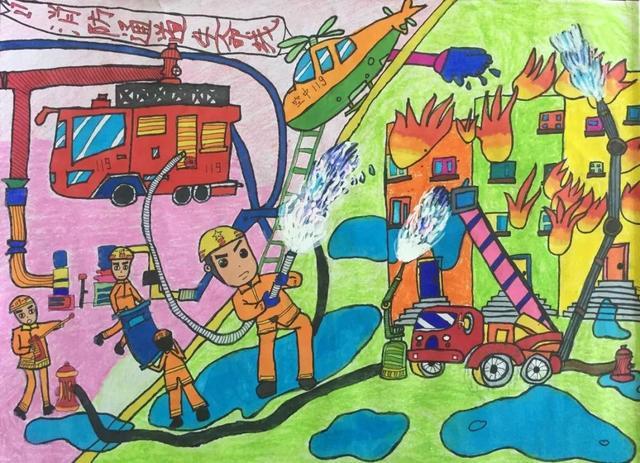 孩子眼中的消防员 盱眙县儿童消防作文绘画大赛参赛作品展