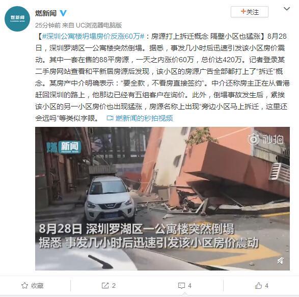 深圳公寓楼坍塌房价反涨60万:隔壁小区也猛涨
