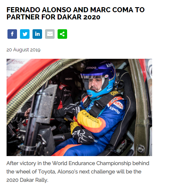 梅奔拒绝组梦之队阿隆索将参加2020达喀尔拉力赛