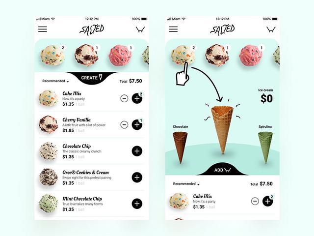 饮料甜品和冰激淋界面设计