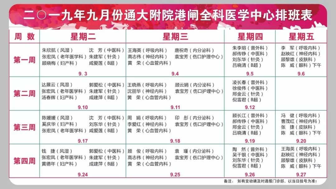 通大附院港闸全科医学中心9月份专家门诊排班表,请惠存!