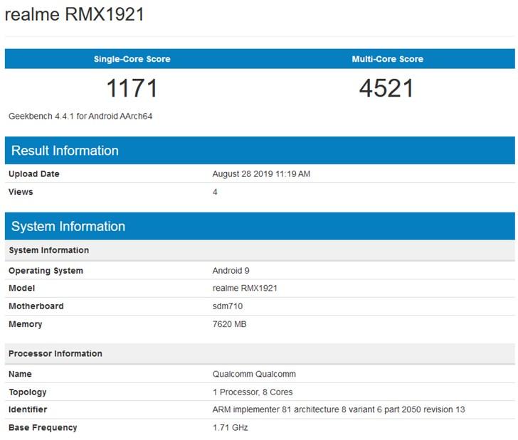 外媒:realme XT跑分曝光,預計本月登陸印度市場