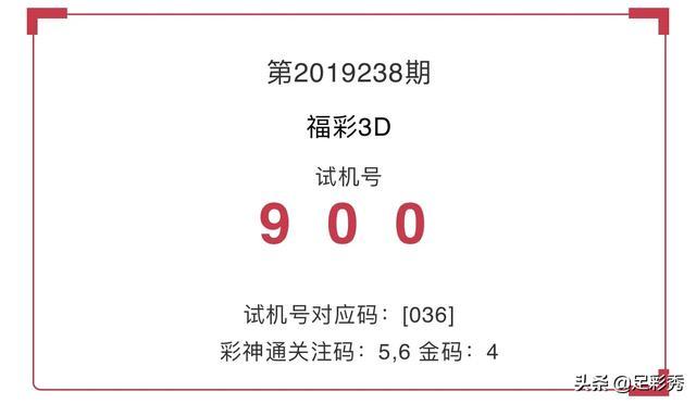 2019238期福彩3D试机号来了