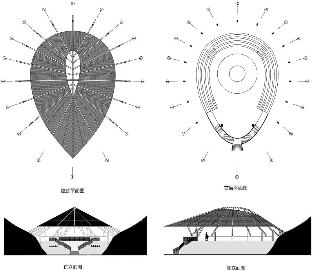 ▽子崖会平面图和立面图
