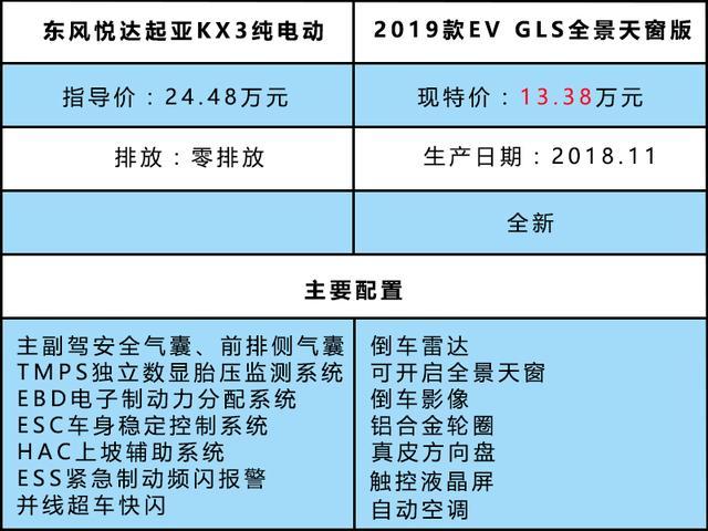 特价汽车东风大岳起亚KX3纯电动导价24.48万/现价13.38万