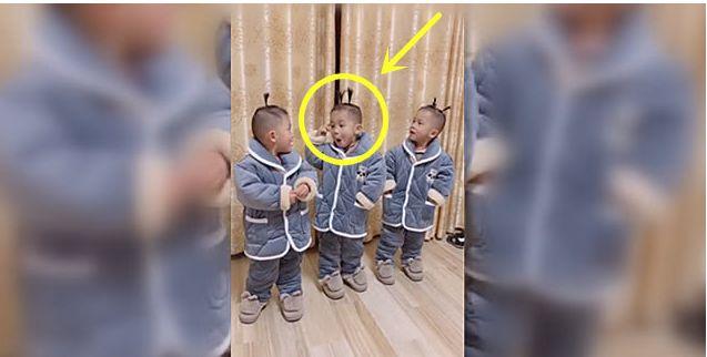 妈妈想要个小棉袄,就把三胞胎儿子打扮成了这个样子,看后不许笑