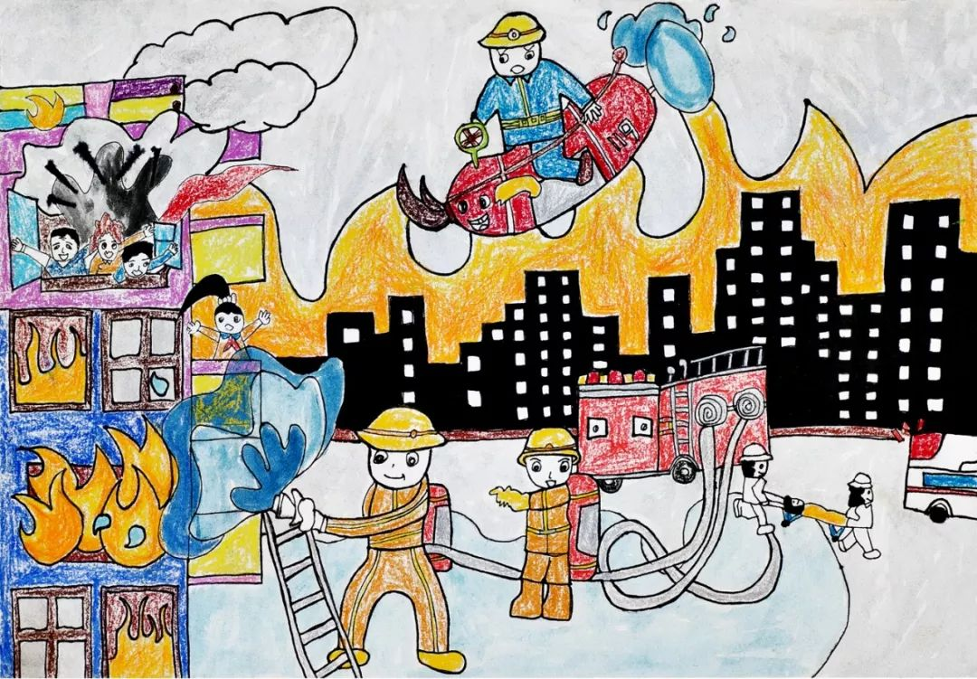 作品名称:《着火啦》 来自:永春县达埔镇达埔中心幼儿园 小朋友的绘画