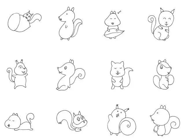 干货!各种小动物的60种简笔画画法,学会画画必备素材