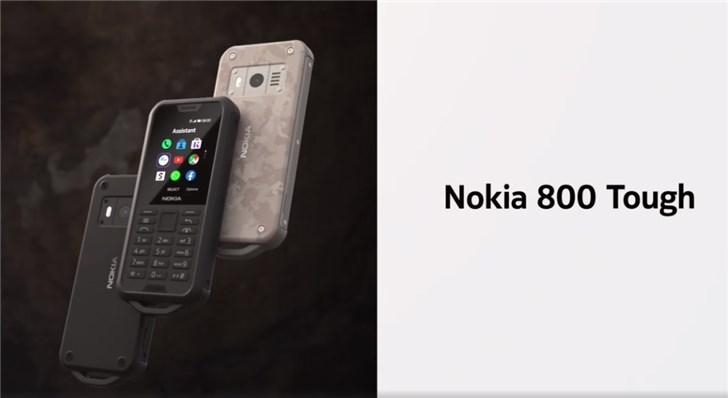 诺基亚发布800Tough三防手机:IP68防水防尘,军工级标准