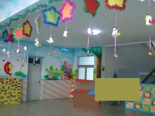 幼儿园元旦吊饰布置 五彩星星挂饰图片