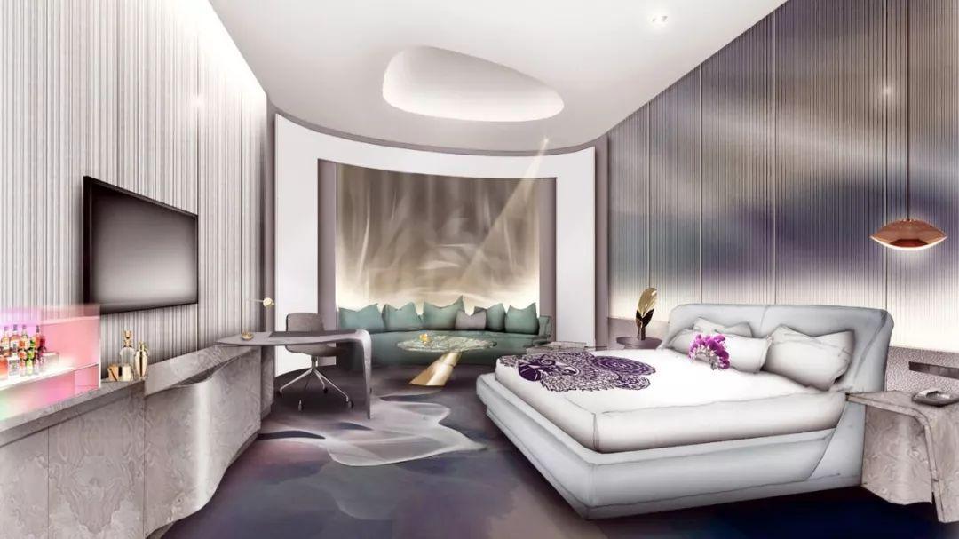 【即将开业】骚到爆的成都W图片独家年底首发圆床房装修设计酒店大全图片