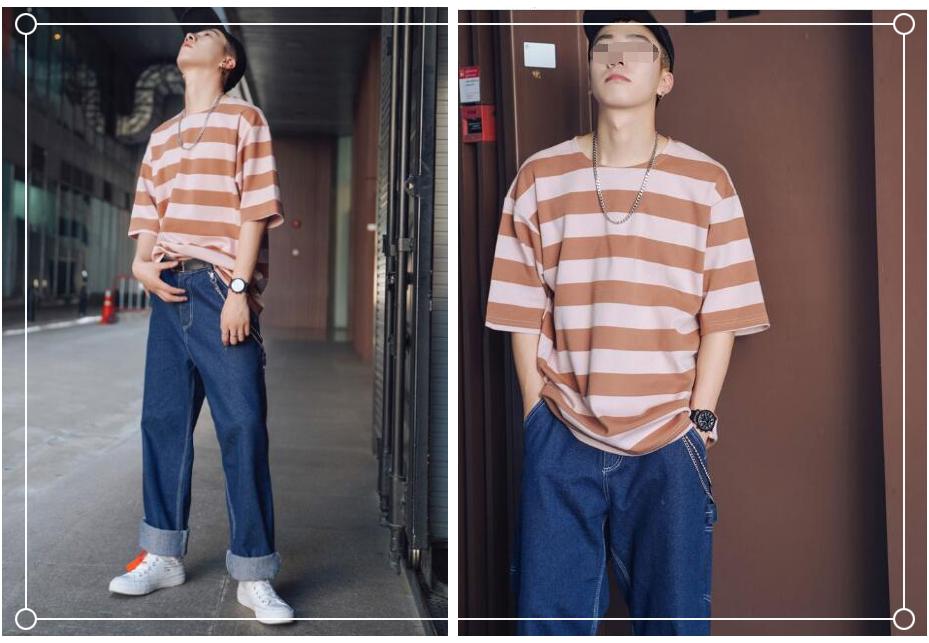 简单又出彩的男生条纹T恤搭配 彰显夏日年轻活力的气息