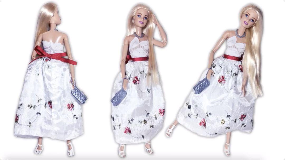 原来给芭比娃娃做连衣裙这么简单,再也不用花钱买娃衣了