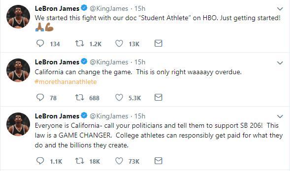 詹姆斯连续发推支持新规 NCAA经纪人考试遭抵制