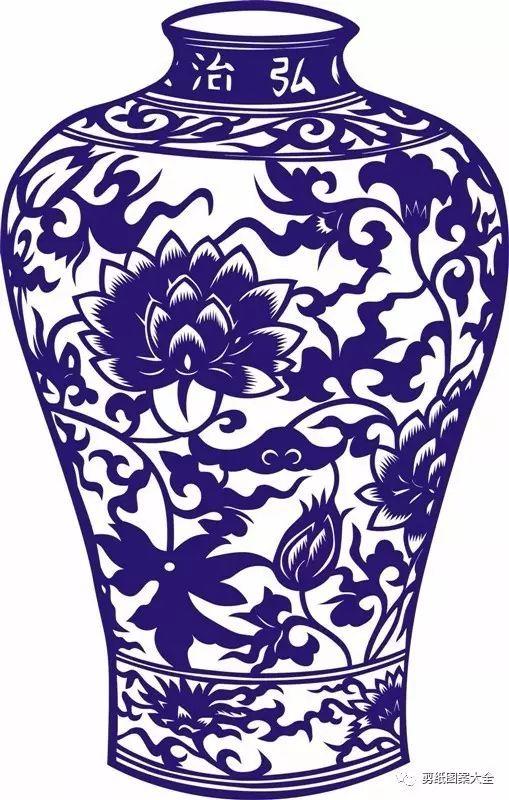 精美青花瓷瓶剪纸作品欣赏