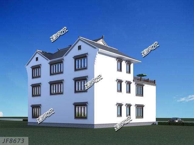 建房说农村别墅设计图,三层四合院