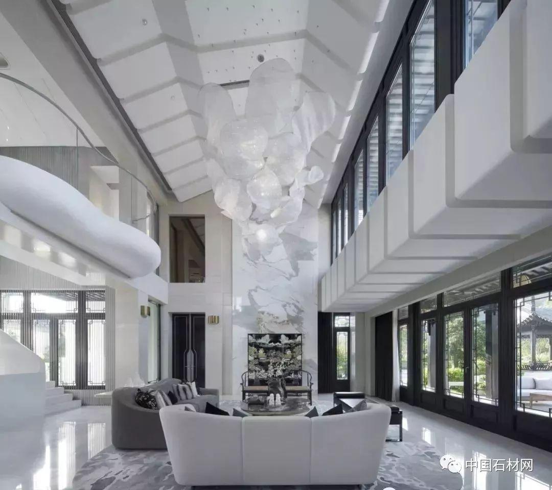 2100㎡白色大理石豪宅设计,塑造山水画般意境