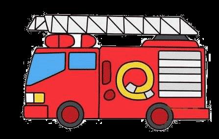 彩色消防车简笔画的画法