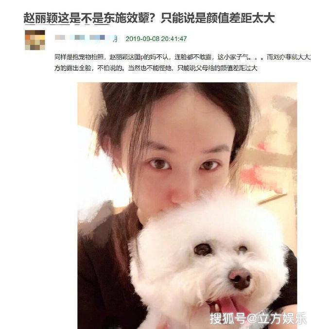 赵丽颖产后首晒与萌宠素颜自拍,被指东施效颦模仿刘亦菲!