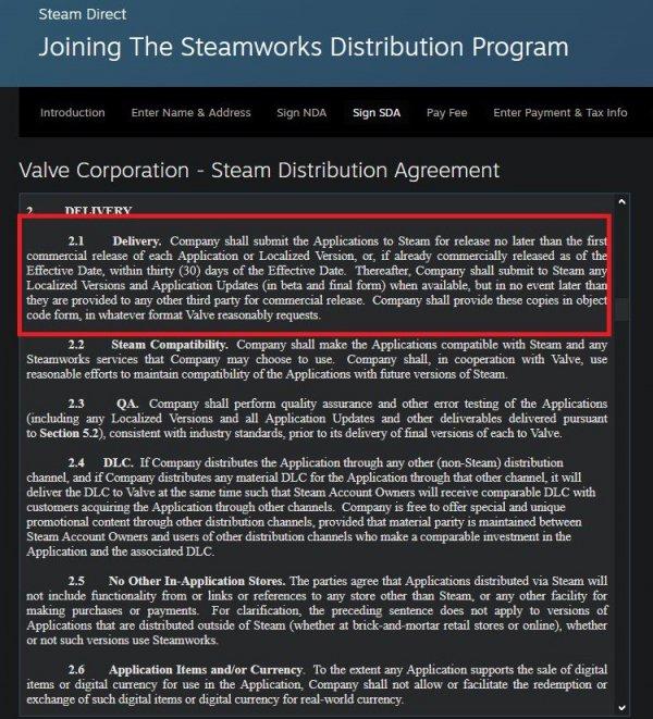 V社更新Steam分销协议禁止未发售游戏下架