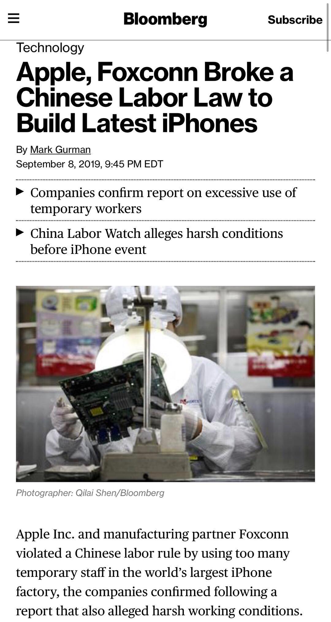 苹果承认违反中国劳动法 富士康部分员工每个月加班超100小时