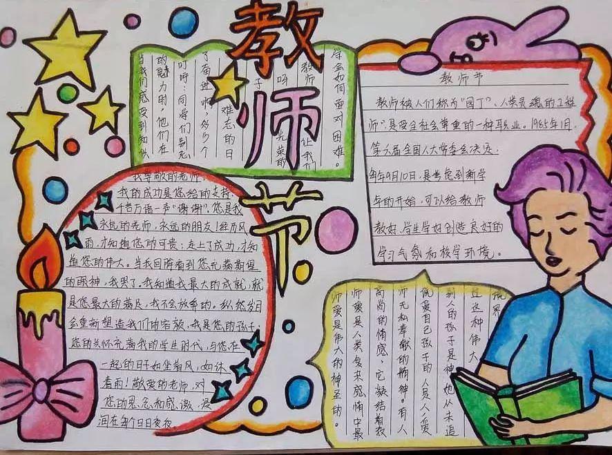 教师节主题手抄报+手工贺卡+教师节祝福语素材,快为孩子收藏