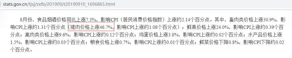 8月,车翻猪涨行情!汽车销量跌9.9%,猪肉涨价46.7%