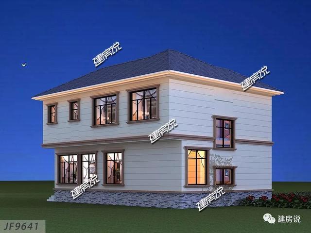 建房说二层欧式农村别墅图纸设计,占地108平