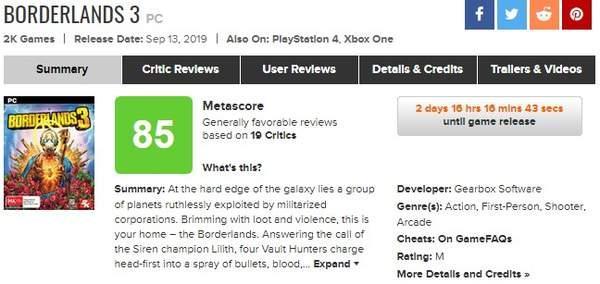 《无主之地3》媒体评分出炉:M站均分85,一致好评