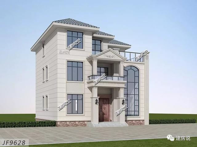 建房说三层欧式农村别墅图纸设计,占地120平