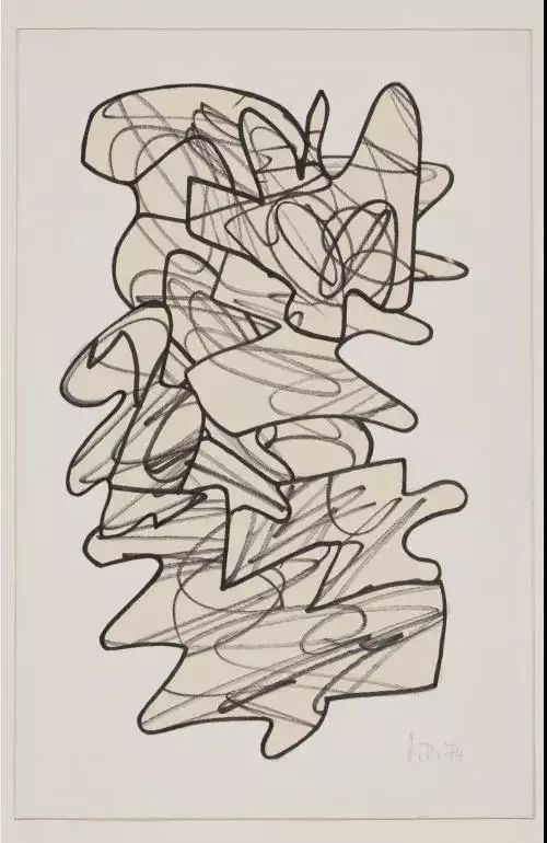 (5/7)让·杜布菲,《战士》,黄色裁剪纸本马克笔画,37.7 x 27.6 cm,1958