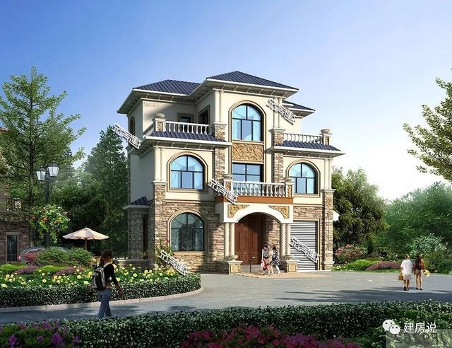 建房说农村别墅设计图纸,三层欧式占地96平