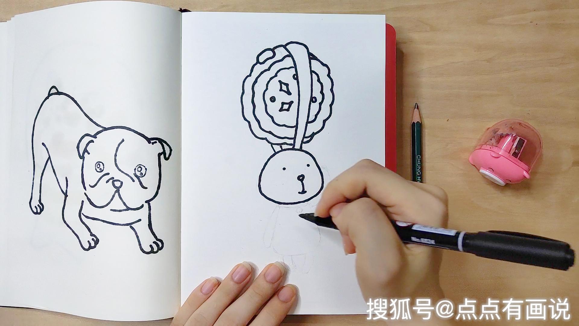 点点有画说 兔子抱月饼过中秋,好玩又轻松的简笔画
