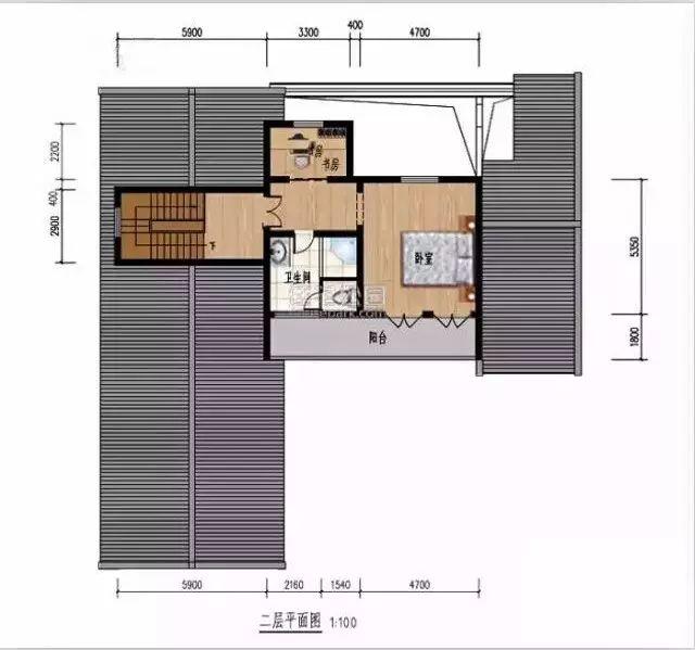 二层带阳台平面图