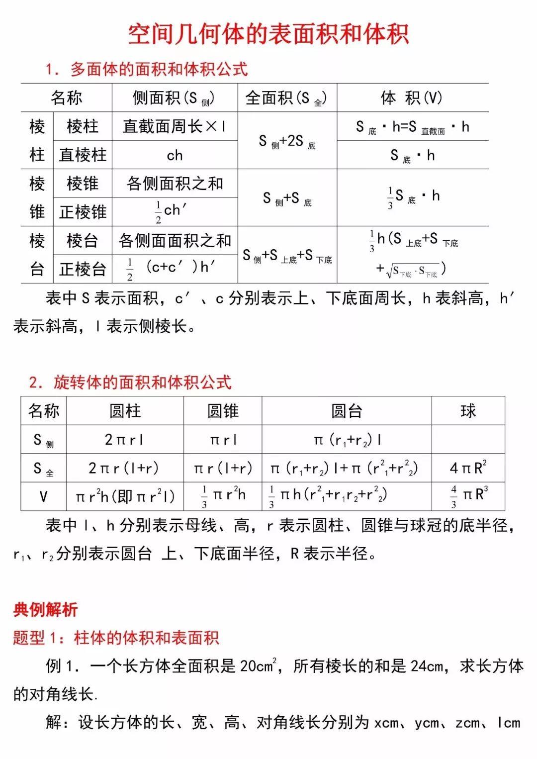 公式 表面積
