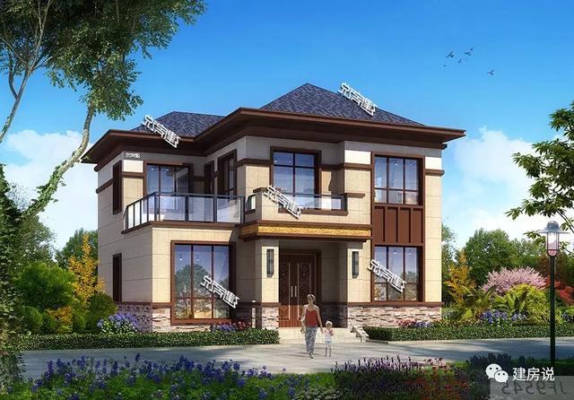 建房说农村别墅设计图,二层欧式风格带露台