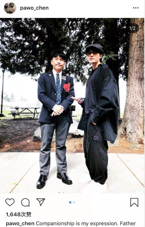陈坤晒与17岁儿子合照,除了眼睛,简直一模一样