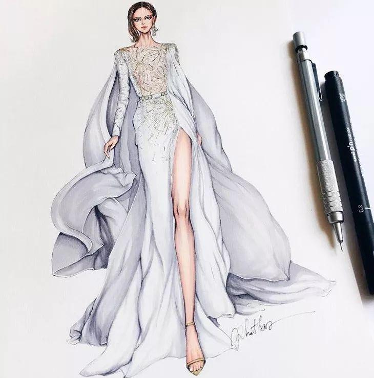 短裙礼服设计图素描