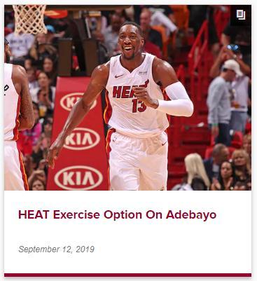 NBA:迈阿密热火将执行阿德巴约第四年球队选项