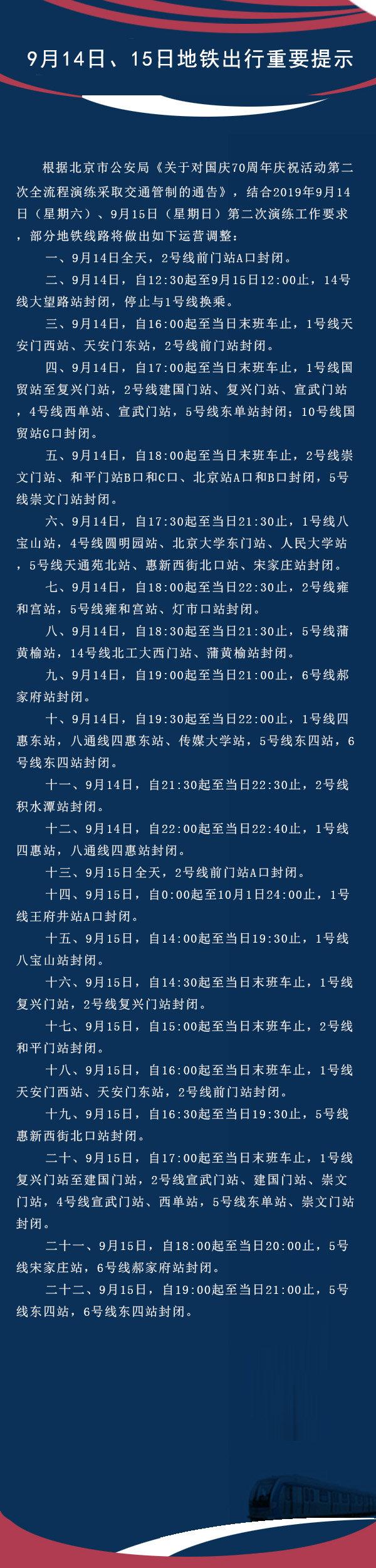 9月14日、15日北京地铁多条线路运营调整