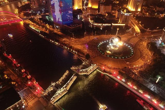 「我开!」今晚的解放桥,再次盛装开启,为津门海河夜景添彩