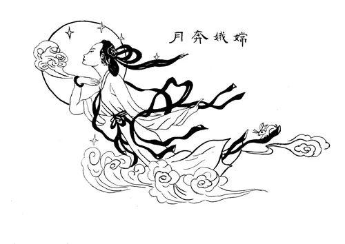 中秋节简笔画作品欣赏图片