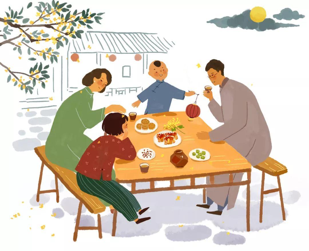中秋团圆时,与家人围坐在一起,图片