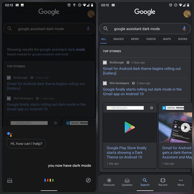黑暗主题再次推出给部分用户的GoogleApp和Google智能助理