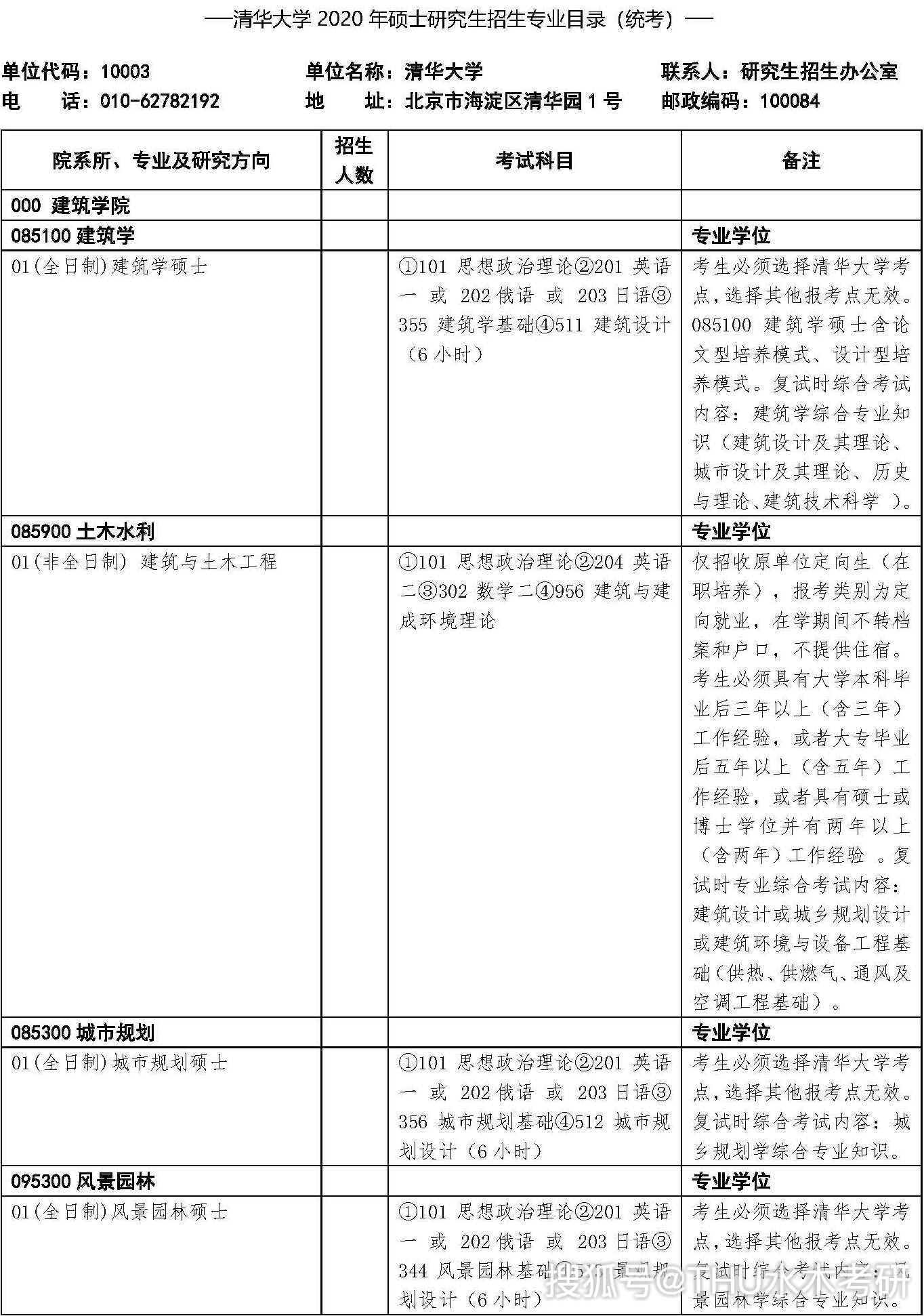 <b>2020年清华大学硕士研究生招生专业目录</b>