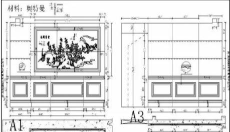 干货| 大理石电视背景墙cad设计详图,可直接使用!_加工图片