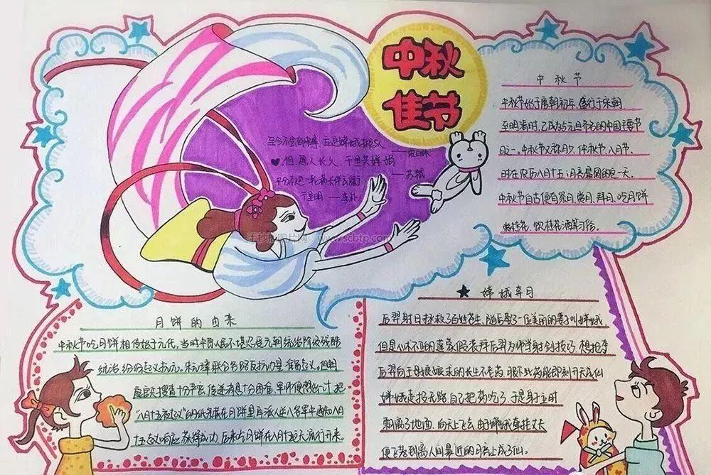 中秋节手抄报图片素材,模板,文字,赶紧为孩子收藏!图片